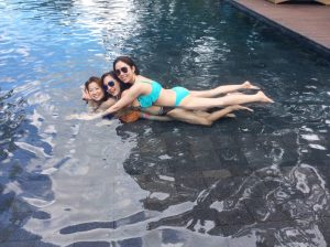 girls in the pool