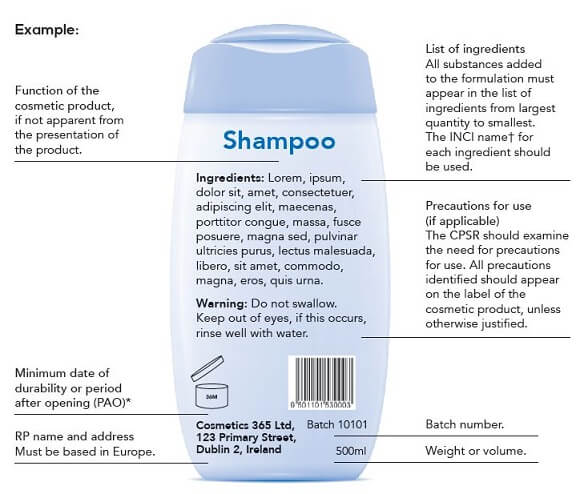 ingredient label on shampoo bottle